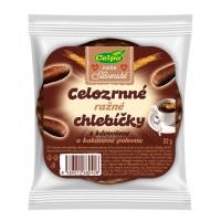 Celozrnné ražné chlebíčky s kávovinou a kakaovou polevou 22g